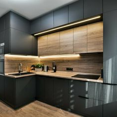The 27 best black kitchens kitchen trends you need to see 5 Luxury Kitchens BLACK Kitchen Kitchens Trends New Kitchen Interior, Modern Kitchen Interiors, Kitchen Room Design, Modern Kitchen Cabinets, Kitchen Cabinet Design, Modern Kitchen Design, Home Decor Kitchen, Home Interior Design, Interior Architecture