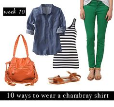 colored jeans, stripe shirt + denim    with an i.e.: Chambray Challenge: 10 Ways to Wear a Chambray Shirt