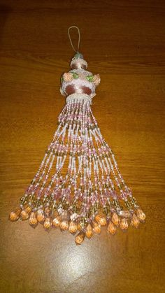 Victorian Christmas Ornament Beaded Pink Hanging Christmas Tree Flowers Lace