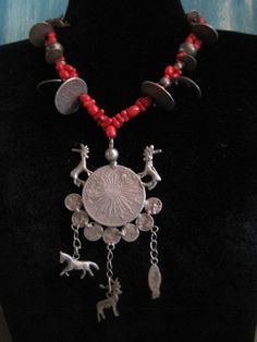 Guatemala Necklace, Antique Chachal, Coin Guatemalan Necklace, Red Beads and…