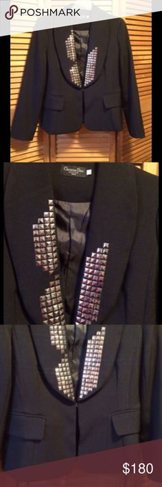 Christian Dior Black Blazer Gorgeous black blazer with silvertone embellishments, middle hook inside for closure, with deep outer pockets that are still sewn. Listed as large but fits more like a medium. Christian Dior Boutique Paris Jackets & Coats Blazers