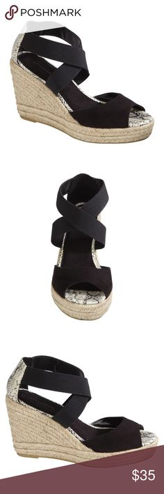 ATTENTION Stretch Wedge Black wedge, Stretchy elastic straps with Snake print details. Heel Height: 4 inches TRADING PAYPAL Attention Shoes Wedges