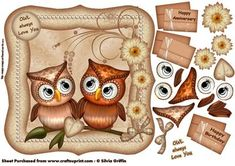 I OWL ways love you SBS on Craftsuprint designed by Silvia Griffin - Humorous twist on a Anniversary card or for your better half - your special someone you are dating. Pretty easy cuts on this decoupage card. - Now available for download!