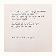 the exact moment you fell in love | christopher poindexter