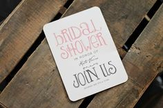 Rustic + Elegant Bridal Shower Ideas. Bridal Shower Invitations -- Showers Ahead
