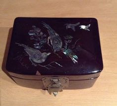 Antique Jewelry Box/ Mother Of Pearl Inlaid by MerryLegsandTiptoes