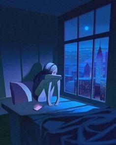 Art Anime Fille, Anime Art Girl, Sad Wallpaper, Cartoon Wallpaper, Purple Wallpaper, Cartoon Kunst, Cartoon Art, Aesthetic Art, Aesthetic Anime