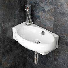 Lecce Left Wall Mounted Space Saving Ceramic Hand Basin £69.00 www.clickbasin.co.uk