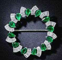 Green white brooch pin solid 925 sterling silver handmade jewelry for sale buy #Handmade