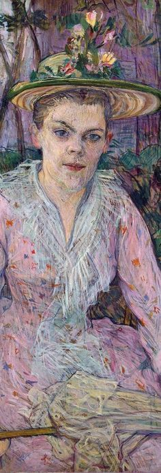 Woman with an Umbrella (Berthe the Deaf in the Garden of Monsieur Forest), 1889  Henri de Toulouse-Lautrec  Detail