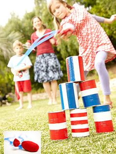 "Rocket Toss: July 4th partygoers will have a blast playing this classic carnival game made from recycled metal cans and homemade ""rockets."""