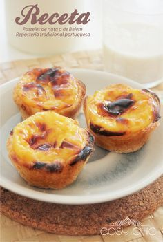 Receta pasteles de Belem o pasteles de nata. Receta portuguesa.