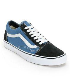 blue + black old skool vans #vans #shoes #fashion #street #style