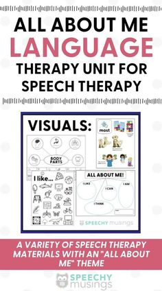Looking for some fun themed speech therapy resources to use in during your sessions? This All About Me themed language therapy unit is just what you need! You'll get materials to target comprehending narrative texts, categories, describing, sentence combining, and more! Receptive Language, Speech And Language, Speech Therapy Activities, Language Activities, Figurative Language Activity, My Themes, Social Skills, Sentences, Texts