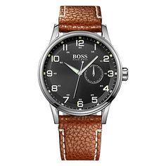 Buy Hugo Boss 1512723 Men's Black Dial Leather Strap Watch, Brown Online at johnlewis.com