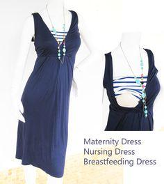 Maternity Dresses / Nursing Dress Breastfeeding / Nursing Clothes / Nautical NEW Dress / NAVY Dress / Maternity Clothes by ModernMummyMaternity on Etsy https://www.etsy.com/listing/152452660/maternity-dresses-nursing-dress