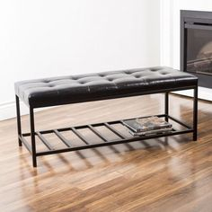 An excellent piece to your foyer and home decor. This beautiful leatherette bench has a sleek metal base that has a storage shelf. The modern design is suitable for both traditional and contemporary interiors.: