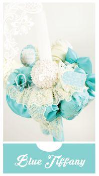 """Lumanare de botez unisex, tematica  fashion """"Blue Tiffany"""""""