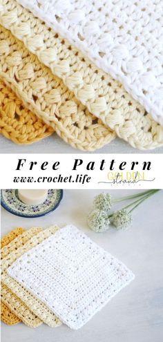 Free Dishcloth Pattern - Anna Romalis - Free Dishcloth Pattern DIY dishcloth pattern is easy to crochet and makes a beautiful housewarming gift. Free crochet pattern by GoldenStrandStudi. Crochet Towel, Crochet Potholders, Crochet Squares, Dishcloth Crochet, Doilies Crochet, Crochet Shawl, Easy Crochet Patterns, Free Crochet, Wash Cloth Crochet Pattern