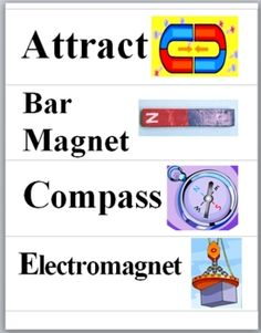 This MAGNETISM WORD WALL file contains 16 Magnetism Vocabulary Words and Terms printed on 4 pages. Each Vocabulary Term has a colorful illustration...