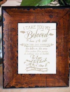 Wedding Art / Newlywed gift I take you my by ChelsiLeeDesigns