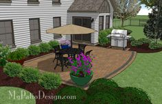 Designed for a home with a corner, the Private Backyard design creates 420 sq. ft. of colorful outdoor living space. BBQ grill pad. Layouts and material list.