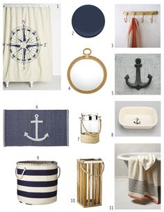 The condo I'm buying has a really small bathroom. Before I move in, I'm going to paint and replace the pedestal sink with a vanity for more storage. I decided to do a nautical theme in the bathroom with navy walls. Since the shower/tub has white tile I think the navy wall color will really …