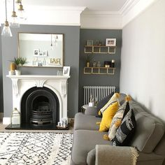 I love the wall color combined with the wide white crown molding.