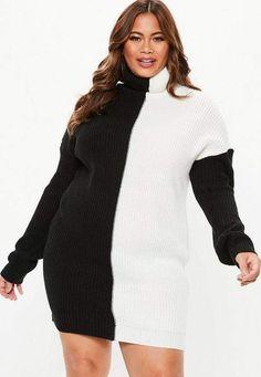 07bb3eb0c Missguided Plus Size Black Turtle Neck Color Block Sweater Dress