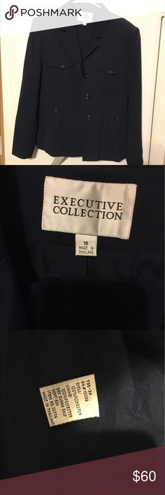 Fully Lined Navy Blue Pant Suit - NWT - Size 16 Fully Lined Navy Blue Pant Suit - NWT - Size 16 Executive Collection Jackets & Coats