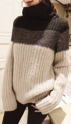 Coffee Color Block Print High Neck Pullover Sweater