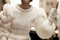 Winter-White Fur and Cable-Knit Leg-of-Mutton Sleeved Sweater | Burberry Prorsum  Ummm....HELL NO!