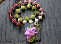 Orchid and Humming bird necklace with ombre beads   Flickr - Photo Sharing!