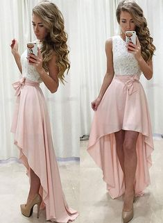 Unique Prom Dresses, A-Line Jewel Sleeveless High Low Pearl Pink Prom Dress With. - Unique Prom Dresses, A-Line Jewel Sleeveless High Low Pearl Pink Prom Dress With Sash Lace CoBridal Source by - Homecoming Dresses High Low, Two Piece Homecoming Dress, Unique Prom Dresses, A Line Prom Dresses, Beautiful Prom Dresses, Dresses For Teens, Dance Dresses, Women's Dresses, High Low Dresses