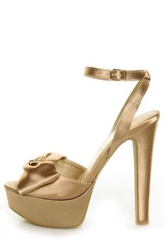 """Chinese Laundry: Forget You Nude Satin Platform Pumps- For a truly unforgettable night, step into these pumps! Champagne satin upper flaunts a full, knotty bow at the peep toe, and a chic, wraparound ankle strap that adjusts with a gold buckle (and hidden elastic). 1.5"""" wrapped platform teams with a sturdy 5.5"""" wrapped heel (plus rubber tip). Lightly cushioned insole. Non-skid, felted rubber sole. $39"""