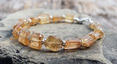 golden imperial topaz bracelet with sterling by TheSpiralRiver