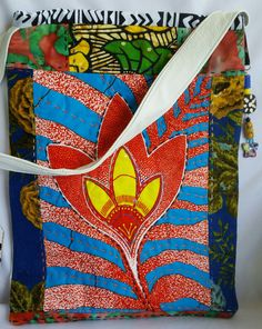 African fabric and white leather tote bag by AzizaBoutique on Etsy