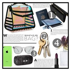 """""""~ What's in my bag? ~"""" by dolly-valkyrie ❤ liked on Polyvore featuring Fendi, Apple, Dolce&Gabbana, Royce Leather, Mohzy, Oakley, Daum and inmybag"""