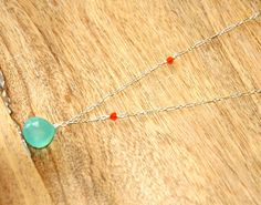 Sterling Silver Link Chain Necklace with Sea Foam Green Colored Chalcedony  and Carnelian Gemstones