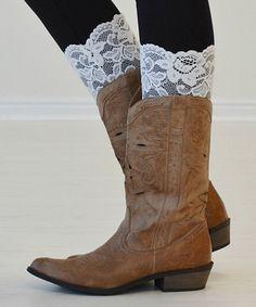 Look what I found on #zulily! White Layla Boot Cuffs by PeekABootSocks #zulilyfinds