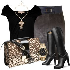 A fashion look from September 2014 featuring Michael Kors blouses, MuuBaa skirts and Jimmy Choo shoulder bags. Browse and shop related looks.