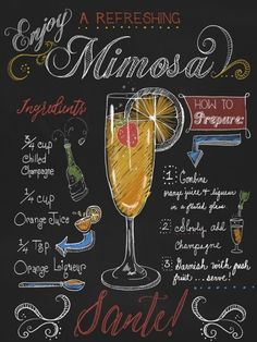 "Chalkboard Art - ""Mimosa"" wall art by Fiona Stokes-Gilbert available at Great BIG Canvas. Cocktail Drinks, Alcoholic Drinks, Beverages, Special Recipes, Frames On Wall, Framed Wall Art, Framed Canvas, Framed Prints, Art Prints"