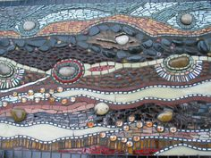 mosaic with glass and rock,looks like a river bed