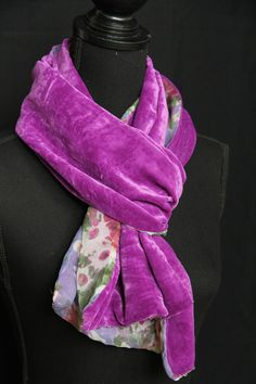 Silk velvet & creased chiffon scarf with beads. See more on www.etsy.com/shop/SlinkySilk