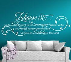 Wandtattoo Zitat Zuhause ist wo die Liebe wohnt ... W942 Flur Wohnzimmer Spruch in Möbel & Wohnen, Dekoration, Wandtattoos & Wandbilder | eBay