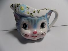 Vintage Lefton MISS PRISS Kitty Cat Creamer MCM Kitsch Blue and White CUTE! #Lefton