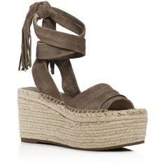 Marc Fisher Ltd. Rabecca Ankle Tie Espadrille Platform Wedge Sandals (£140) ❤ liked on Polyvore featuring shoes, sandals, olive, ankle wrap sandals, platform wedge shoes, ankle strap espadrilles, ankle tie shoes and olive shoes