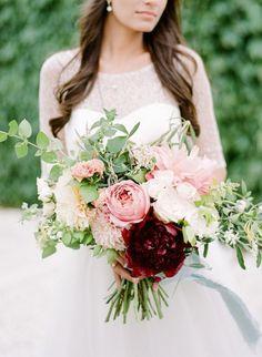Spring Blush and Burgundy Wedding Bouquet