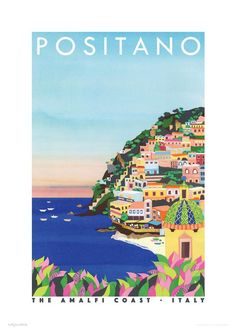 Vintage Travel Posters, Vintage Postcards, Vintage Italy, Positano Italy, Sorrento Italy, Capri Italy, Naples Italy, Sicily Italy, Venice Italy