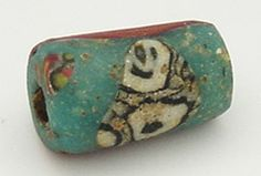 9th-10th cent Viking, Wound glass with mosaic glass inset